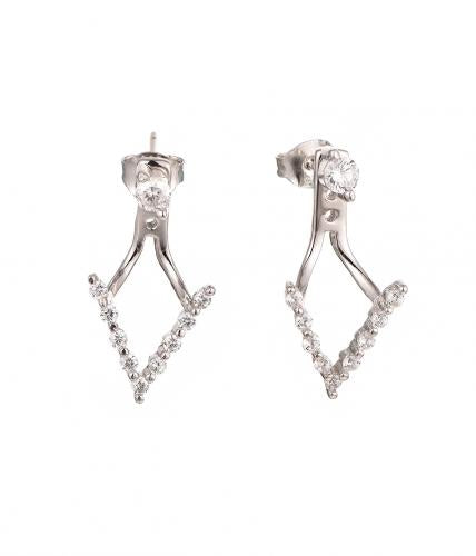 Rhodium CZ Jackets 925 Sterling Silver Earring HE59309A
