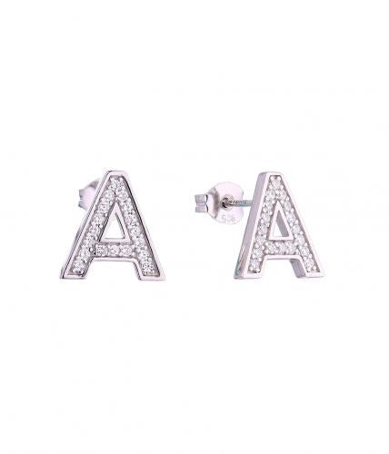 Rhodium CZ Stud Letter Fashion 925 Silver Jewelry Earring HE59500A