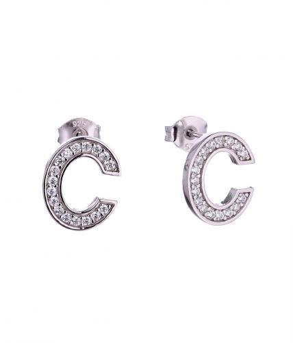 Rhodium CZ Stud Letter Fashion 925 Silver Jewelry Earring HE59501A