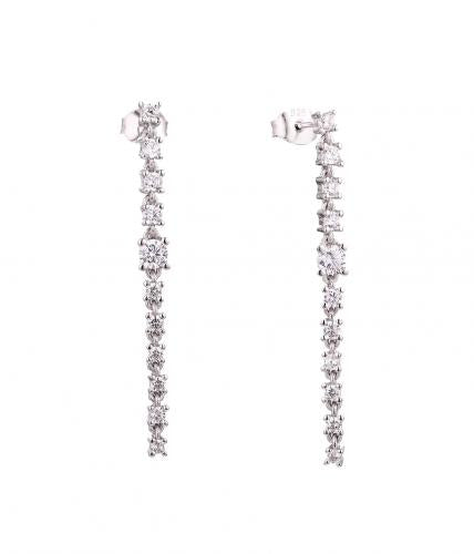 Rhodium CZ Long Fashion 925 Silver Jewelry Earring HE59603A