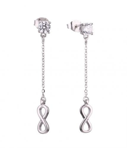Rhodium CZ Long Infinity 925 Sterling Silver Earring HE60809A