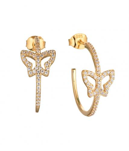 Yellow Gold CZ Stud Butterfly Animal 925 Sterling Silver HE61603D