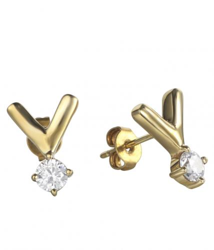 Yellow Gold CZ Stud Letter Fashion 925 Silver Jewelry Earring HE010B8A