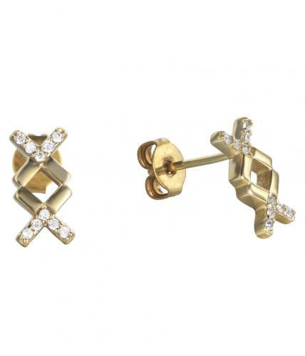 Yellow Gold CZ Stud Letter Fashion 925 Silver Jewelry Earring HE010B9A