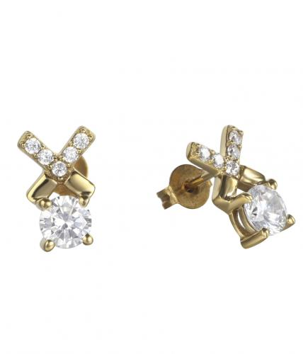 Yellow Gold CZ Stud Letter Fashion 925 Silver Jewelry Earring HE011B0A