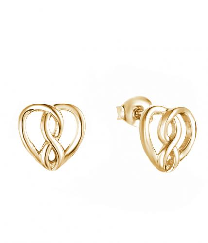 Yellow Gold Stud Heart 925 Sterling Silver Earring HE019B0C