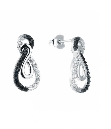 Rhodium Spinel Stud Infinity 925 Sterling Silver Earring HE021B1A