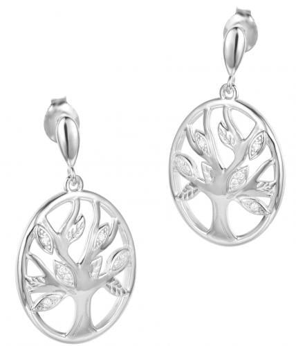 Rhodium CZ Drop Tree Fashion 925 Silver Jewelry Earring HE005D2A