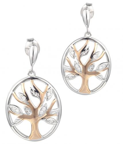 Rose Gold CZ Drop Tree Fashion 925 Silver Jewelry Earring HE005D2B