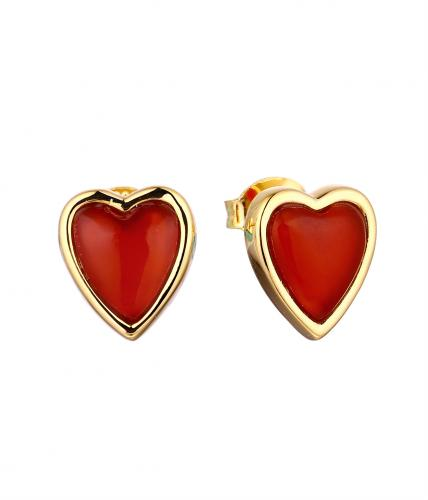 Yellow Gold Gemstone Stud Heart 925 Sterling Silver HE036D4F