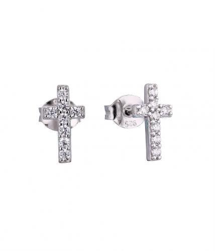 Rhodium CZ Stud Cross 925 Sterling Silver Earring HE040D0E