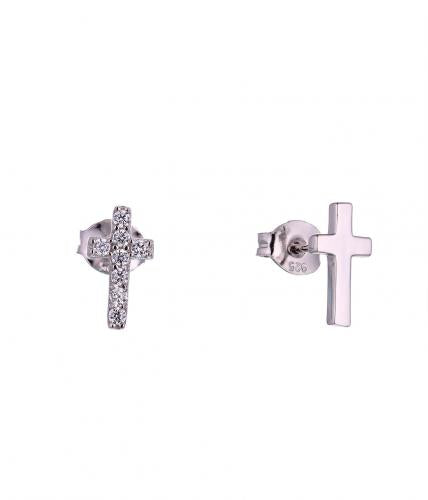 White Gold CZ Stud Cross 925 Sterling Silver Earring HE040D0F