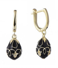 Rhodium Enamel Drop Ball 925 Sterling Silver Earring HE000I7A