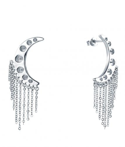 Rhodium Tassels Moon Fashion 925 Sterling Silver Earring HE000K8B