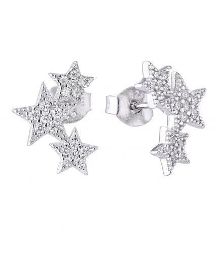 Rhodium CZ Jackets Star Fashion 925 Sterling Silver Earring HE001W5A