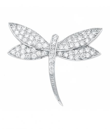 Rhodium CZ Dragonfly Animal 925 Silver Jewelry Necklace HP00207A