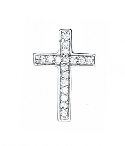 Rhodium CZ Cross 925 Sterling Silver Necklace HP01207A