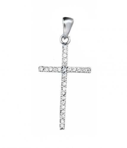Rhodium CZ Cross 925 Sterling Silver Necklace HP01704H