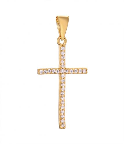 Yellow Gold CZ Cross 925 Sterling Silver Necklace HP01704O