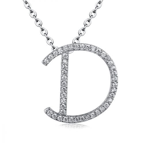 Rhodium CZ Initial Letter Fashion 925 Sterling Silver Necklace HP03308A