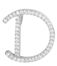 Rhodium CZ Initial Letter Fashion 925 Sterling Silver Necklace HP03308B