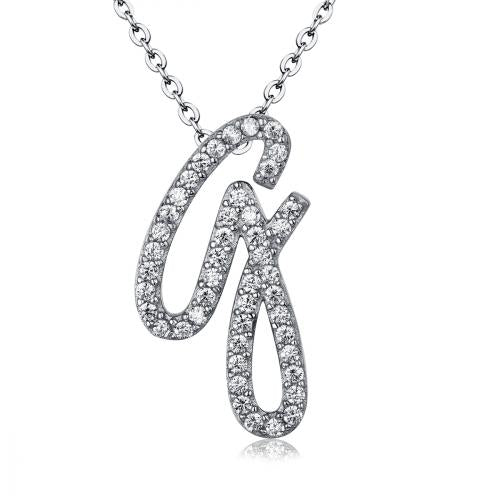 Rhodium CZ Initial Letter Fashion 925 Sterling Silver Necklace HP03401A