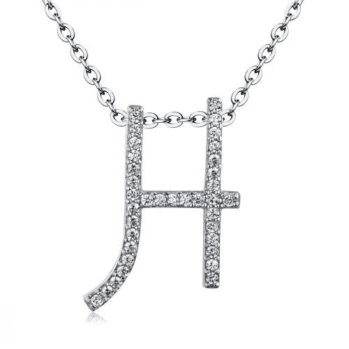 Rhodium CZ Initial Letter Fashion 925 Sterling Silver Necklace HP03402A
