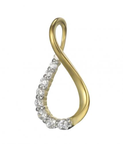 Yellow Gold CZ Teardrop Fashion 925 Sterling Silver Necklace HP16005C