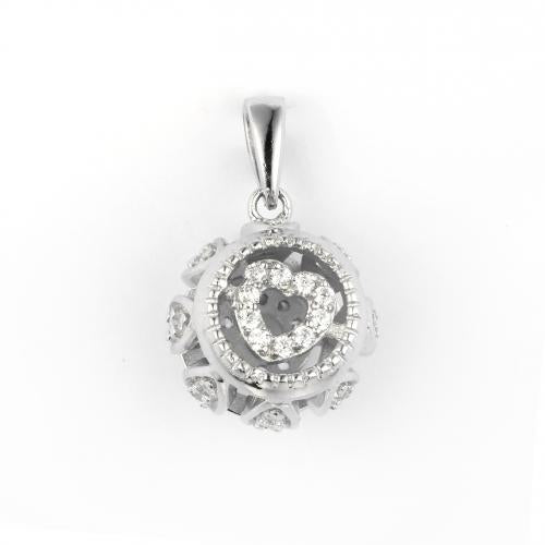 Rhodium CZ Ball 925 Sterling Silver Necklace HP29403A