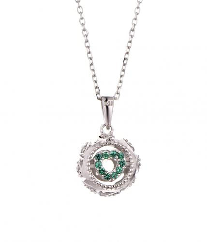 Rhodium Gemstone Ball 925 Sterling Silver Necklace HP29404A