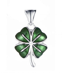 Rhodium Enamel Clover Fashion 925 Sterling Silver Necklace HP33100A