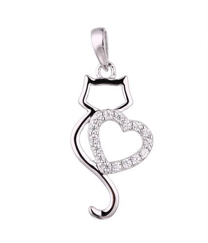 Rhodium CZ Cat Animal 925 Sterling Silver Necklace HP33804E