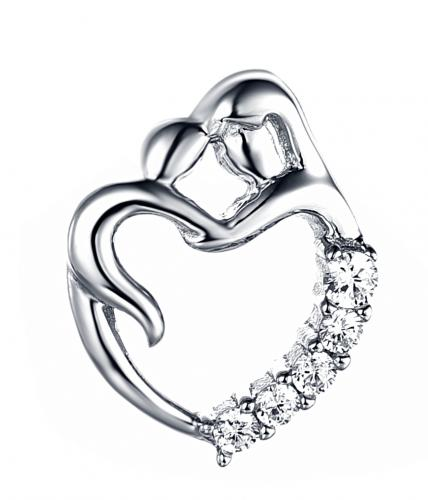 Rhodium CZ Heart 925 Silver Jewelry Necklace HP34402A