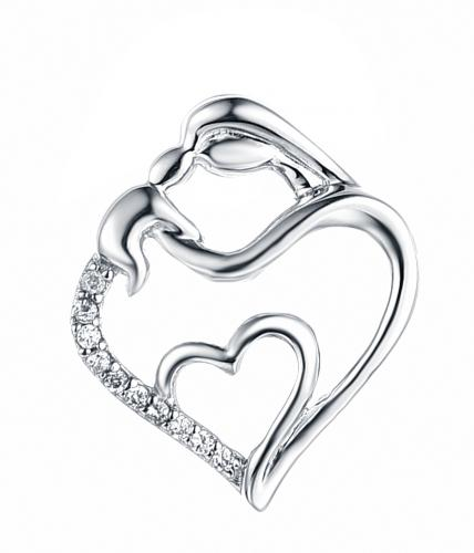 Rhodium CZ Heart 925 Silver Jewelry Necklace HP34405A