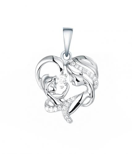 Rhodium CZ Heart Character 925 Silver Jewelry Necklace HP35408A