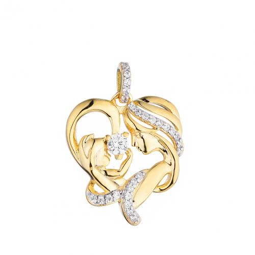 Yellow Gold CZ Heart Character 925 Silver Jewelry Necklace HP35408B