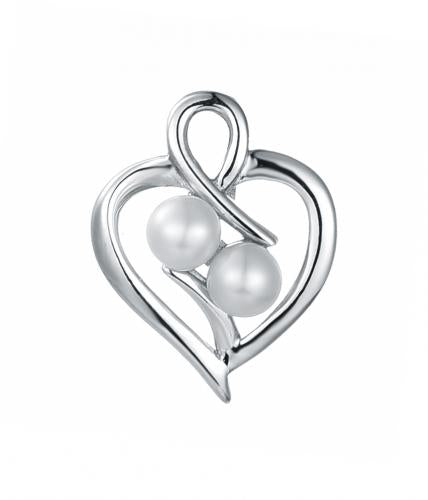 Rhodium Pearl Heart 925 Sterling Silver Necklace HP35509A