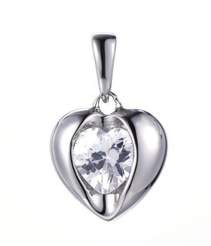 Rhodium CZ Heart 925 Sterling Silver HP35901A