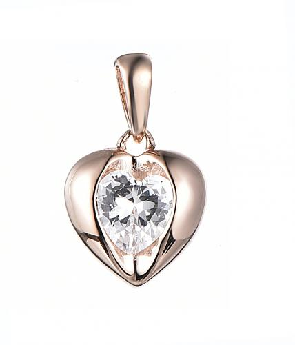 Rose Gold CZ Heart 925 Silver Jewelry Necklace HP35901C