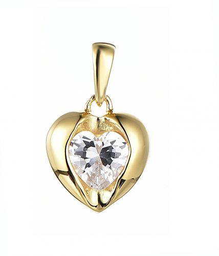 Yellow Gold CZ Heart 925 Silver Jewelry Necklace HP35901D