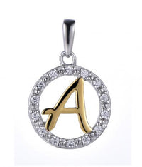 Yellow Gold CZ Initial Coin Fashion 925 Silver Jewelry Necklace HP36001A