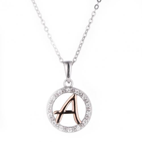 Rose Gold CZ Initial Coin Fashion 925 Silver Jewelry Necklace HP36001E