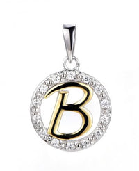 Yellow Gold CZ Initial Coin Fashion 925 Silver Jewelry Necklace HP36002A