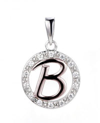Rose Gold CZ Initial Coin Fashion 925 Silver Jewelry Necklace HP36002B