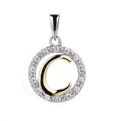 Yellow Gold CZ Initial Coin Fashion 925 Silver Jewelry Necklace HP36003A