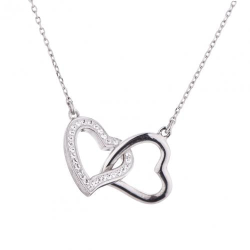 Rose Gold CZ Heart 925 Silver Jewelry Necklace HP36003B