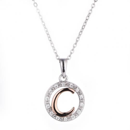 Rose Gold CZ Initial Coin Fashion 925 Silver Jewelry Necklace HP36003E