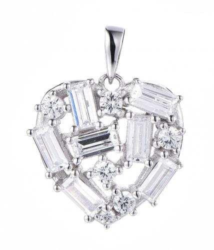 Rhodium CZ Heart 925 Silver Jewelry Necklace HP36009A
