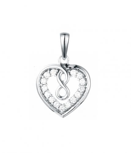 Rhodium CZ Heart 925 Sterling Silver HP36605A