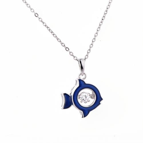 Rhodium CZ Fish Dancing Animal 925 Silver Jewelry Necklace HP37103A
